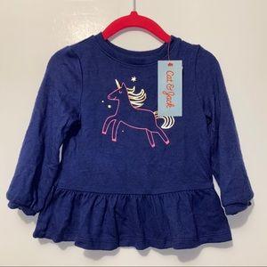 CAT & JACK Unicorn Ruffle Shirt Sz 12m